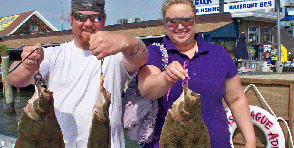 Showing off the Flounder Catch